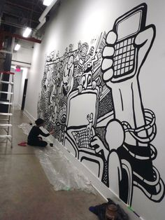 black and white illustrated mural | Black and White Art Graffiti Murals | Heyapathy Surreal Comics