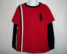 Ralph Lauren Polo Boys Red And Black Big Pony Long Sleeve Knit Top 6