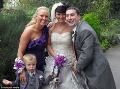 Standing tall on her wedding day: Rachel's body is slowly solidifying. she can no longer raise her arms above her head but was determined to walk down the aisle to her husband Paul (pictured)