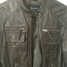 Massimo Dutti Vestes et manteaux - veste en cuir marron 100% peau de mouton