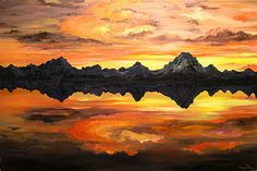 Mountain Sunset Painting - Sunset Over Jackson Lake And The Grand Tetons by Connie Tom