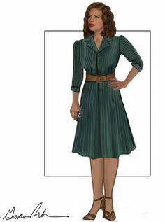 Another sketch! This time of Peggy's teal pinstriped coat dress. Also, click through to the link for detailed analyses of ALL of Peggy's outfits from the series, complete with pattern recommendations! From galatea-cosplay on Tumblr.