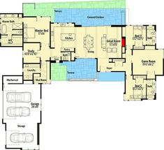 Plan 54232HU: Distinctive 3 Bed Contemporary Home Plan With Game Room
