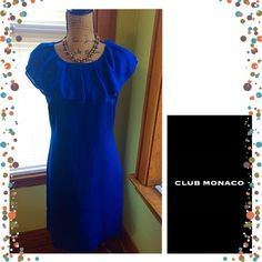 HP Club Monaco Blue Ruffle Neck Dress Gorgeous gently used Club Monaco ruffle neck dress. Size 6. Best for small C cup and under. Shell: 76% Polyester, 24 % Cotton. Lining: 100% Acetate. Dry clean only.                                           9/28/15 Wardrobe Staples Party Host Pick- selected by @luxeladylg Club Monaco Dresses Midi