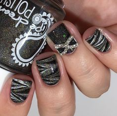 Black water marble nail art... Sparkly watermarble nails!!  I used: @pipedreampolish Moonbow, prism drops, atrament @glampolish_ Teardrops Are Falling @glistenandglow1 HK Girl tutorial up next  #prsample #pipedreampolish #glistenandglow  #watermarblenails #glampolish