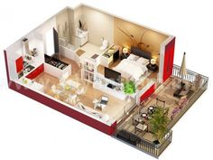 Studio Apartment Floor Plans via Home Designing - Would love to see so many of these come to life!