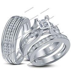 10K White Gold 925 Silver Simulated Diamond Wedding His Hers 3-Pcs Trio Ring Set #br925silverczjewelry