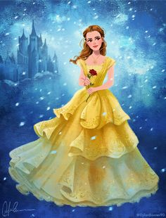 Emma Watson as Belle - Beauty and the Beast by DylanBonner. You know, I questioned the dress when she was standing still . but then she moved, and WOW. The designers totally nailed it. Princesa Disney Bella, Belle Disney, Film Disney, Disney Love, Disney Magic, Disney Fan Art, Tumblr Wallpaper, Disney Wallpaper, Beast Wallpaper