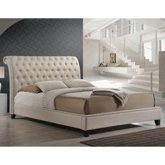 Baxton Studio Jazmin Tufted Light Beige King Bed