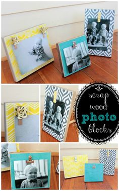 Turn scrap wood into these adorable photo block picture frames!