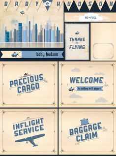 Custom Printable Baby Shower Party Package - Personalized Vintage Aviation Themed DIY Decorations