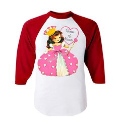 "Valentine Girl Shirt ""Queen of Hearts"" Red White Baseball Custom Size Retro Vintage on Etsy, $22.00"