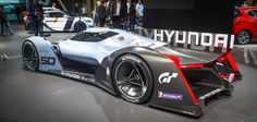 Hyundai imagines a dual fuel cell stack combining with a supercapacitor system to power the 871-hp (650-kW) race car