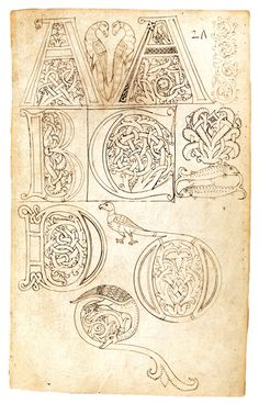 Model Book of Initials Tuscany, Italy; 1175 9 x 5 in. x cm) The Fitzwilliam Museum, Cambridge, MS Medieval Books, Medieval Manuscript, Medieval Art, Calligraphy Letters, Typography Letters, Hand Lettering, Gothic Lettering, Islamic Calligraphy, Illuminated Letters