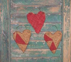 Quilt Heart Ornaments made from antique quilt by Prairie Primitives Folk Art, set of 3!