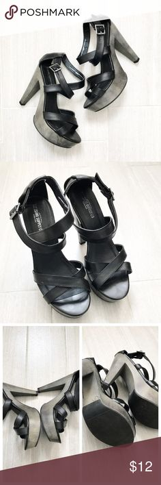 """Platform Heels black & dark grey silver Mossimo Supply Company from Target. Platform strappy heels. Top in black faux leather and bottom dark pewter silver / gray color. Adjustable strap. Scuffs on heel (see photos). Worn once. Heel height 5"""" Platform height 1.25"""" BUNDLES 20% OFF 🎉 Mossimo Supply Co Shoes Platforms"""