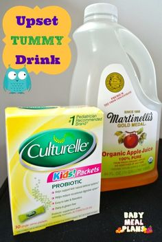 Upset Tummy Drink.  When my baby recently caught a stomach virus, we rushed to the doctor who gave us this suggestion for an upset tummy drink.