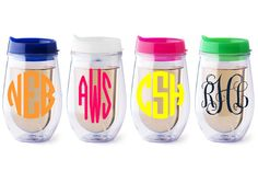 Personalized Bev2go stemless wine glass {Pink lid}