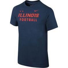 Nike Youth Illinois Fighting Illini Blue Football Sideline Facility T-Shirt, Size: Medium, Team