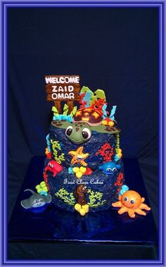 Squirt Under The Sea baby shower cake - by First Class Cakes @ CakesDecor.com - cake decorating website