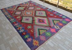 "Turkish Classic Antalya Kilim 71"" x 100"" Hand Woven Natural Wool Rug 180x255 cm"