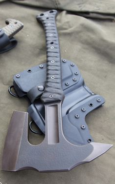 Miller Bros Blades Axe - Z-Wear PM steel, 516 thickness, Kydex sheath with Drings and leather belt loops.