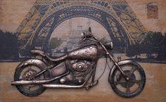 Schilderij: Motor In Parijs (3D)
