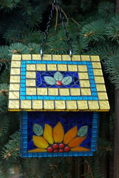 Birdhouse Stained Glass Mosaic Sunflower by NatureUnderGlass
