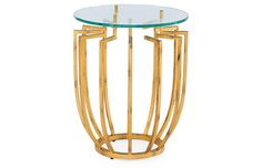 Spoke Round Side Table - Hammered Gold - Global Views