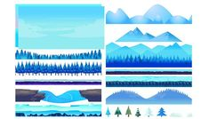 Game dev market presents cool game assets and backgrounds.  Here is Game background winter landscape constructor, with mountains, snow, hills, trees, forest, rocks, etc. only for 2$
