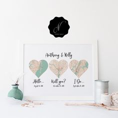 Hello Will You I Do 3 Heart Map Print, First Anniversary Gift, Wedding Anniversary Gift For Couple, Cotton Anniversary, Met Engaged Married