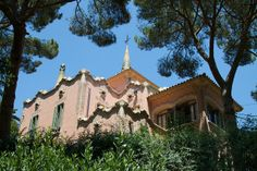 Casa Museu Gaudí.  In Park Güell in Barcelona, Spain. 1906. Designed by architect Francesc Berenguer i Mestres, and signed by Gaudí. Gaudi lived in this house for 20 years.