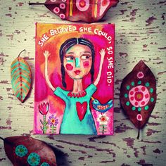 Folk Art Girl on Canvas - pinned by pin4etsy.com