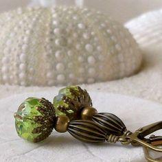 Women's Earrings - Antique Brass Earrings - Peridot Green Earrings - Glass Bead Earrings - Vintage Appeal - Short Earrings - Green Earrings