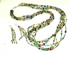 Multi-strand mixed bead necklace by KelKatCustomJewelry on Etsy