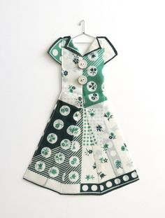 Green and White Geometric Hanky Dress by HankyDresses on Etsy