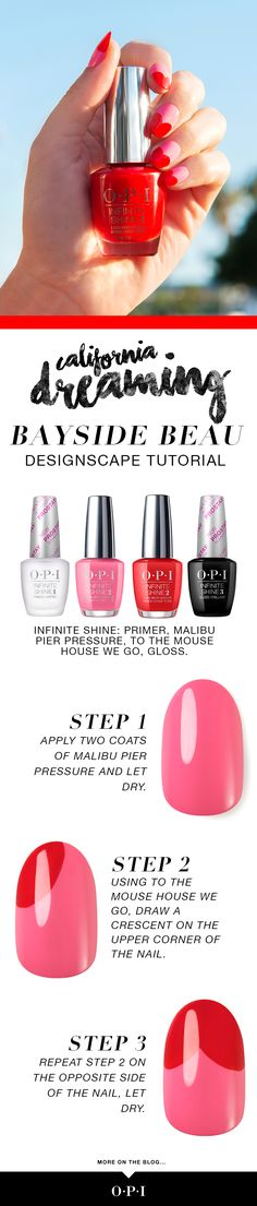 """Two gorgeous shades from our OPI California Dreaming collection make up this pretty designscape """"Bayside Beau"""" - pin if you plan to try this look!"""