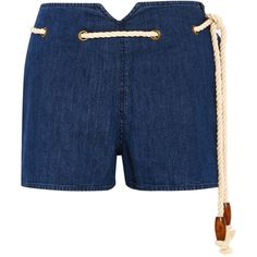 The Great Rope-detailed denim shorts ($130) ❤ liked on Polyvore featuring shorts, mid denim, high waisted jean shorts, high rise shorts, blue shorts, high rise denim shorts and short shorts