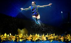 A member of the Australian synchronized swimming team competes at the Olympic Games in London, on 10 August.