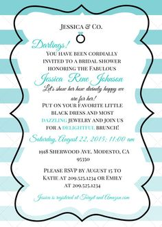 This is a Breakfast at Tiffanys Bridal Shower Invitation! It can also be modified to be a baby shower invitation. Simply write in the order notes your personal invitation information, and you will receive a copy of it via email. You can choose the invitation to be sent in .png format (which is like a normal picture) or a .pdf. This template can be customized to fit your needs. Just ask