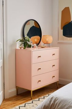 Cleo Dresser is part of Dresser drawers Femme refined, this UOexclusive dresser is made from solid poplar wood with clean lines allover In a lacquered finish with a metal base fea - Ikea Bedroom, Bedroom Furniture, Bedroom Decor, Bedroom Ideas, Master Bedroom, Furniture Layout, Gold Bedroom, Ikea Wall Decor, 50s Bedroom