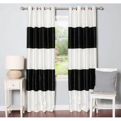 Aurora Home Striped Dupioni Grommet Top Blackout Curtain Panel Pair (Navy 108 inch), Blue, Size 52 x 108