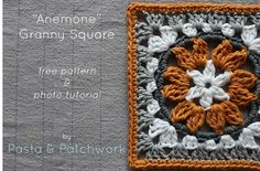 A granny square that looks like a cross between an anemone and a sunflower, achieved by making clusters of Treble Crochet. Free pattern that includes written instructions and step-by-step photos.