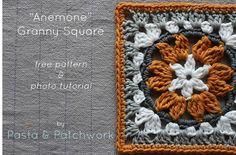 """Anemone"" Granny Square - Free Crochet Pattern & Photo Tutorial - Pasta & Patchwork"