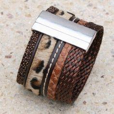 Bracelet manchette cuir façon léopard et marron