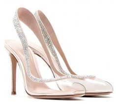 Gianvito Rossi Embellished Transparent Slingback Pumps in Transparent Stilettos, High Heels, Stiletto Pumps, Bridal Shoes, Wedding Shoes, Cute Shoes, Me Too Shoes, Pretty Shoes, Shoe Boots