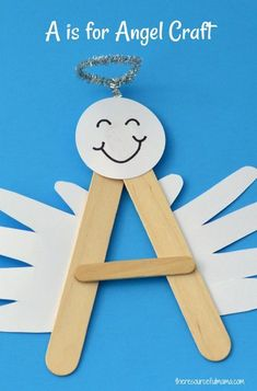 """This A is for Angel Craft is a fun, festive craft for preschoolers to reinforce learning of letter """"A"""". It will look darling hanging on your Christmas tree. by donnannclay Festive Crafts, Christmas Activities, Christmas Crafts For Kids, Craft Stick Crafts, Christmas Projects, Christmas Fun, Holiday Crafts, Fun Crafts, Activities For Kids"""