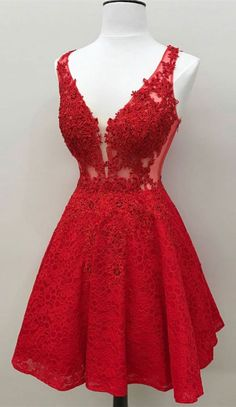 Cheap Admirable Prom Dresses Red, Lace Prom Dresses, Short Prom Dresses, Lace Red Prom Dresses Red Lace evening dress Short prom dress Cheap evening dress Lace dress dress with V-neck Cheap Homecoming Dresses, Hoco Dresses, Prom Party Dresses, Dresses For Teens, Evening Dresses, Bridesmaid Dresses, Formal Dresses, Short Red Prom Dresses, Short Red Formal Dress