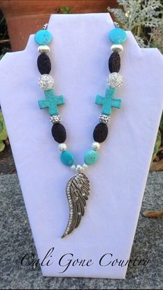 Chunky bling cowgirl necklace with crystal wing by CaliGoneCountry, $37.50