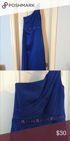 Prom Dress Royal Blue off the shoulder gown. Really nice drape sash at the waist. Dresses Prom